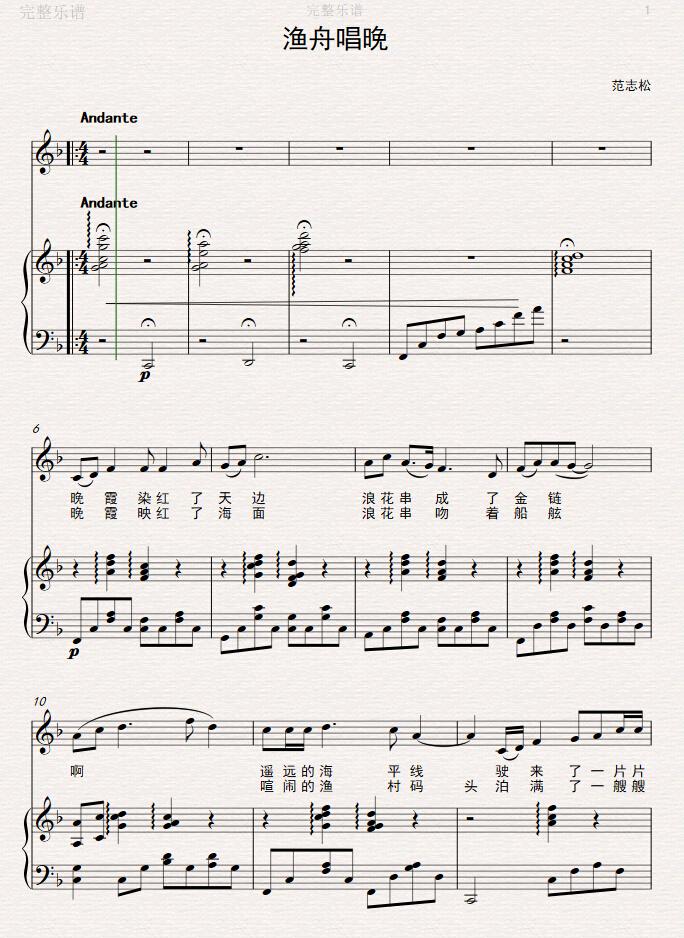 原创音乐曲谱 渔舟唱晚 带钢琴伴奏谱 求指教评价 Powered by Discuz