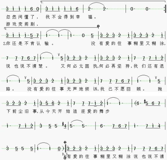 原创音乐曲谱 图片版 没有爱的往事 非常希望作曲网能帮我制作这首